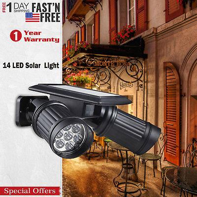 🔥Dual Security Detector Solar Spot Light Motion Sensor Outdoor 14LED Floodlight ()