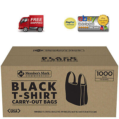 NEW 1000 T-Shirt Carry Out Plastic Bags Recyclable Retail Grocery Shopping BLACK - Black Shopping Bags