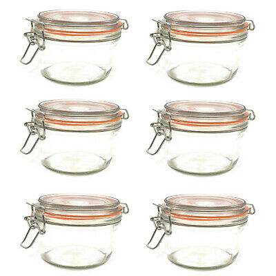 6 x CLIP TOP 'KILNER STYLE' TERRINE STORAGE GLASS JARS  W/ AIRTIGHT SEAL 350ml