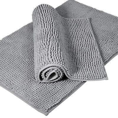 (2 Pack Non Slip Bath Mat Microfiber Shaggy Chenille Bathroom Shower Rug  32