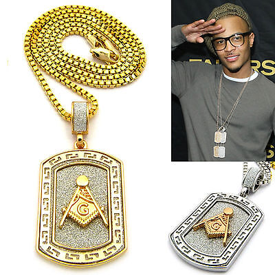 NEW MENS FREEMASONS MASONIC ILLUMNIATI ID DOG TAG PENDENT CHAIN NECKLACE GOLD/SI (Gold Dog Tag Necklace)