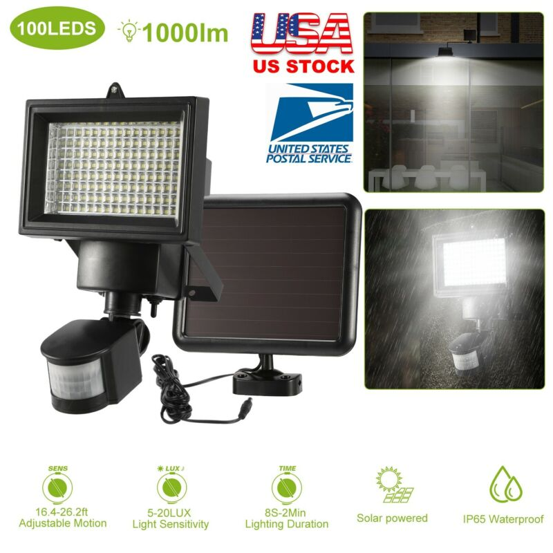 100 LED Solar Powered PIR Motion Sensor Light Outdoor Garden Security Flood Lamp