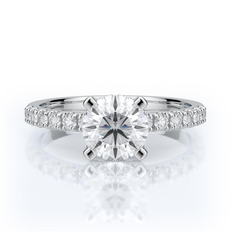 Engagement Diamond Ring Brilliant Round Cut 18k White Gold 1.5 Carat D Si2