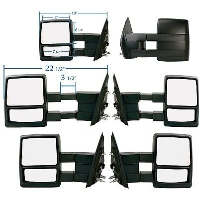 2004-2014 Ford F150 Driver Side Manual Extend Foldaway 2 lens Towing Mirror PAIR