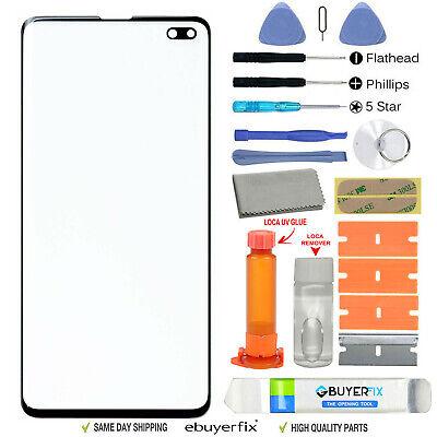 Samsung Galaxy S10 Plus Front Glass Screen Replacement Repair Kit Black+UV Glue