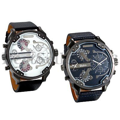 - Mens Watches Dual Time Zone Leather Strap Big Face Military Quartz Sports Watch