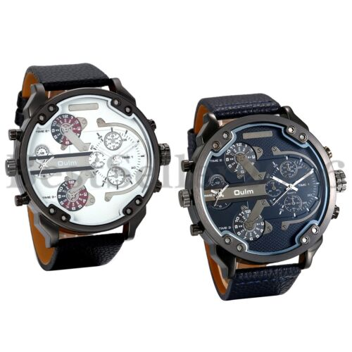 Mens Watches Dual Time Zone Leather Strap Big Face Military