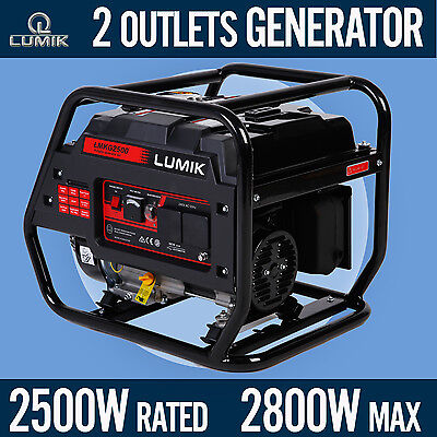 2.5kVA Rated / 2.8kVA Max Generator Portable Camping Caravans 4 Stroke - Petrol