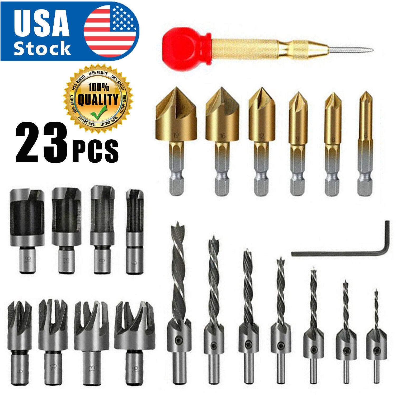 USA 23Pcs Woodworking Chamfer Drilling Tool Countersink Drill Bits Wood Plug Cut Drill Bits