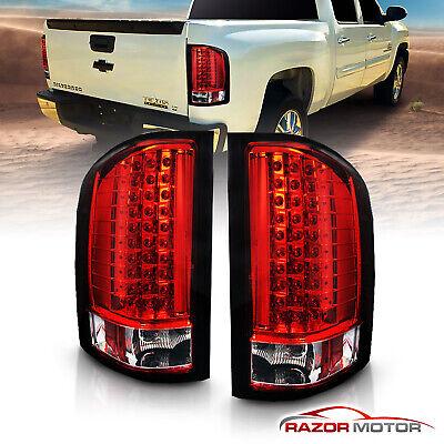 2007-2014 Chevy Silverado 1500 2500 3500 HD Red LED Rear Brake Tail Lights Pair