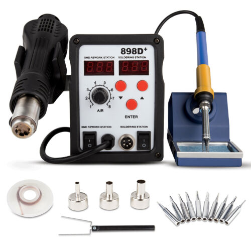 862D/853D/898D/858D+ SMD Soldering Iron Hot Air Rework Station LED Display 110V