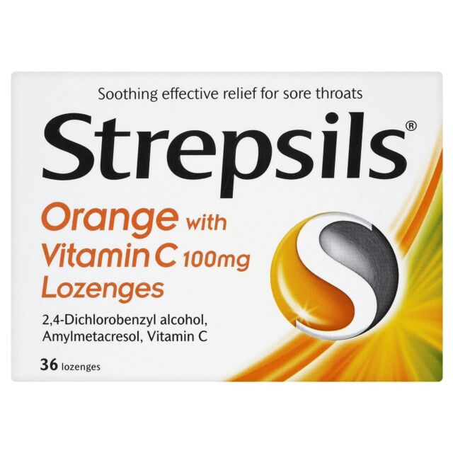 Strepsils Orange With Vitamin C 100mg 36 Lozenges relief for sore throats