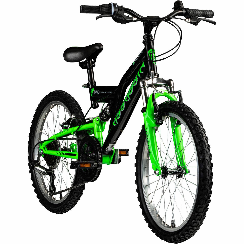 """Kinderfahrrad 20/"""" Fully MTB Xtraxx 7-Gänge Grün-Orange RH 30 Cm KS Cycling 124K"""