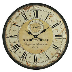 Vintage Wall Clock Rustic Antique Style Large Oversized Distressed Face New