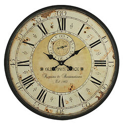 Vintage Wall Clock Rustic Antique Style Large 31.5 Oversized Distressed Face