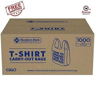 T-shirt Thank You Plastic Grocery Store Shopping Carry Out Bag 1000ct.