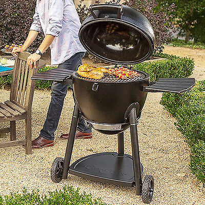 Charcoal Barbecue Grill and Smoker Outdoor Cooking Kamado BBQ Cart Insulated New