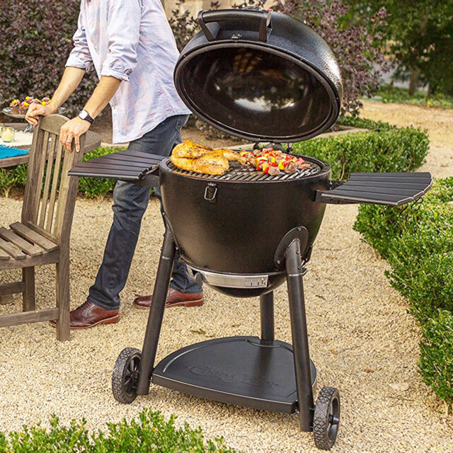 charcoal barbecue grill and smoker outdoor cooking kamado bbq cart insulated new - Kamado Grills