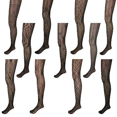 Black Pattern Net Lace Stockings Fishnet Tights Pantyhose Nylons US New