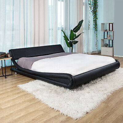 King/Queen/Full PU Leather Platform Bed Frame Upholstered Headboard & Wood Slats Wood Metal Headboards