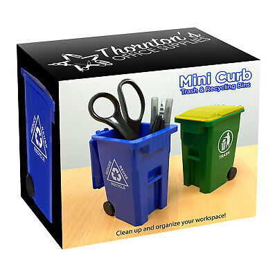Mini Curbside Trash And Recycle Can Set Desk Pencil Cup Holder - Bluegreen