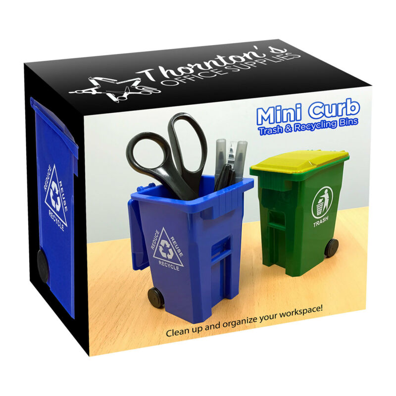 Mini Curbside Trash and Recycle Can Set Desk Pencil Cup Holder - Blue/Green