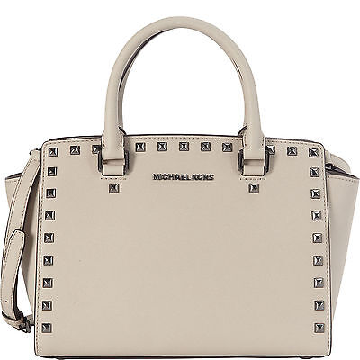 $328 MICHAEL KORS SELMA STUD SATCHEL BAG PURSE GRAY CEMENT SAFFIANO LEATHER*NWT*