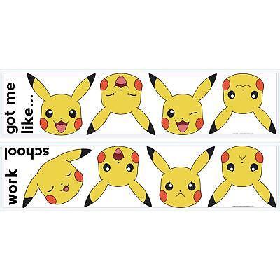 PIKACHU WALL STICKERS 12 New Pokemon FACES Decals Yellow Nintendo - Pokemon Wall Decor