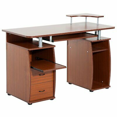 HOMCOM Computer Desk Work Office Study Table Drawer Shelf Keyboard Tray Storage
