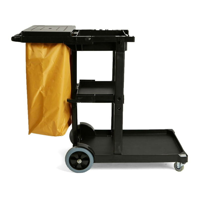 Mind Reader Commercial Janitorial Utility Cart with Yellow Vinyl Bag Black