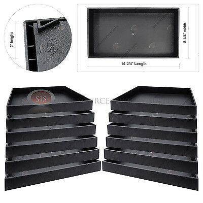 12 Piece 2 Deep Black Plastic Display Tray Jewelry Storage Stackable Organizer