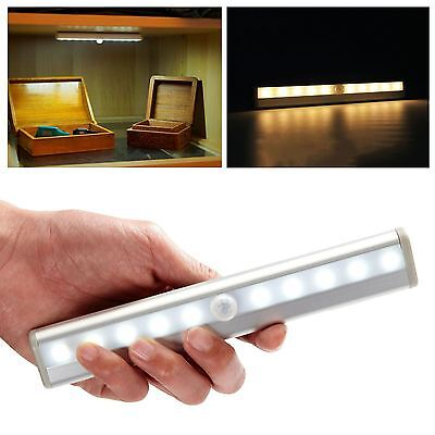 Wireless PIR Motion Sensor 10 LED Battery Powered Light Drawer Cabinet Wardrobe