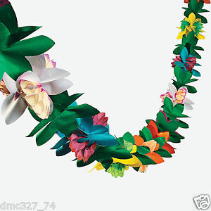 1 LUAU Tiki Hawaiian Tropical Party Decorations FLOWER TISSUE GARLAND 9ft
