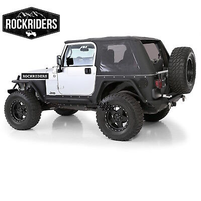 (97-06 Jeep Wrangler TJ Frameless Bowless Soft Top with Tinted Windows in Black)
