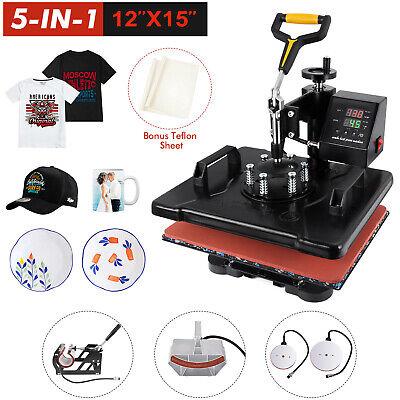 5 In 1 Heat Press Machine 12 X 15 Inch Swing Away Transfer Combo T Shirt Mug Ha