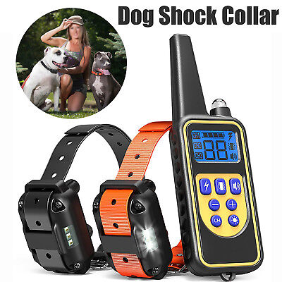 Dog Shock Collar Waterproof Electronic Remote Large Vibrate Pets Training 2600FT
