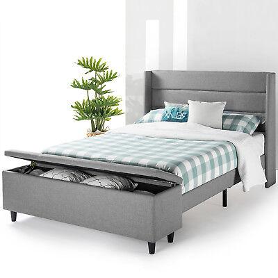 Modern Upholstered Platform Bed w Headboard and Bedside Storage Ottoman