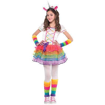Mädchen Kinder Kostüm Einhorn Gr. 110 134 4tlg.  Karneval Faschings neu