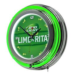 Bud Light Lime-A-Rita Beer 14 Vintage Retro Neon Quartz Wall Clock, Green