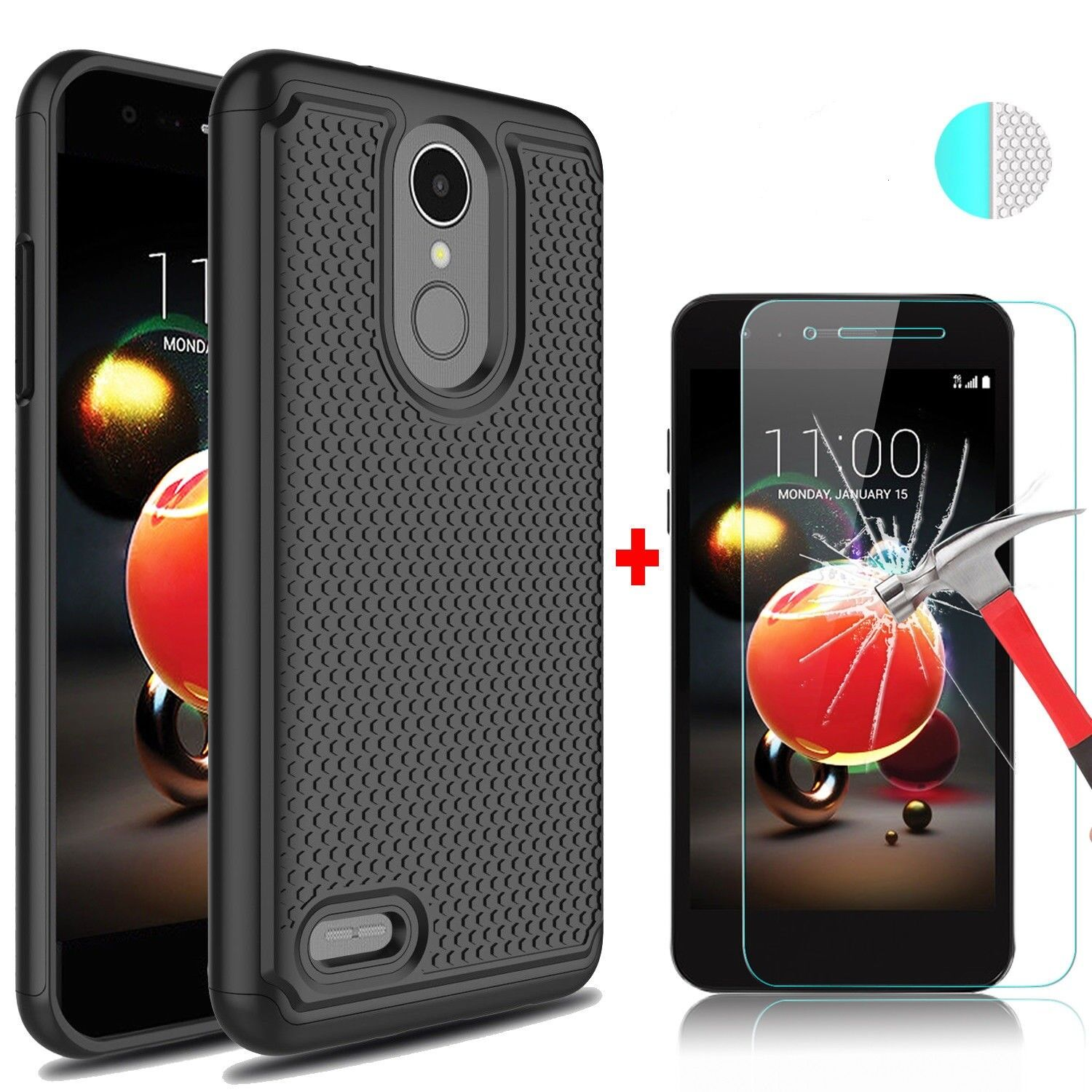 For LG Aristo 2/Tribute Dynasty Phone Case Cover+Tempered