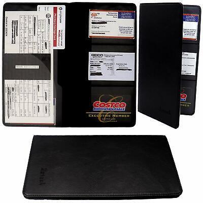 Car Insurance holder registration card documents auto organizer PU Leather N Bk