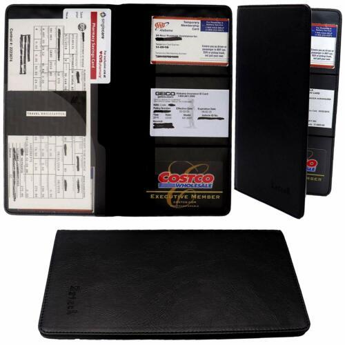 Car Registration and Insurance Holder Vehicle Glovebox Visor Organizer New Black