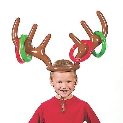 INFLATABLE ANTLER RING TOSS GAME HALLOWEEN KIDS ADULT PARTY GARDEN TOY + 4 RINGS - Adult Party Games Halloween