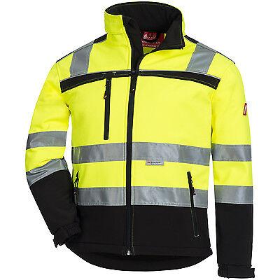 Warnschutz-Softshelljacke Neongelb-schw + neonorange-schw  Gröassen  XS  -  5XL Neon Soft Shell
