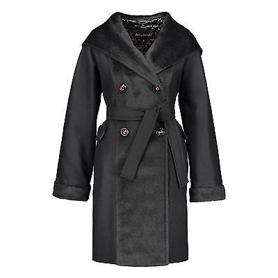 BELLA BICCHI Damen Kaschmir Mantel Schwarz Kapuze Alpaka Winter Jacke gesteppt online kaufen