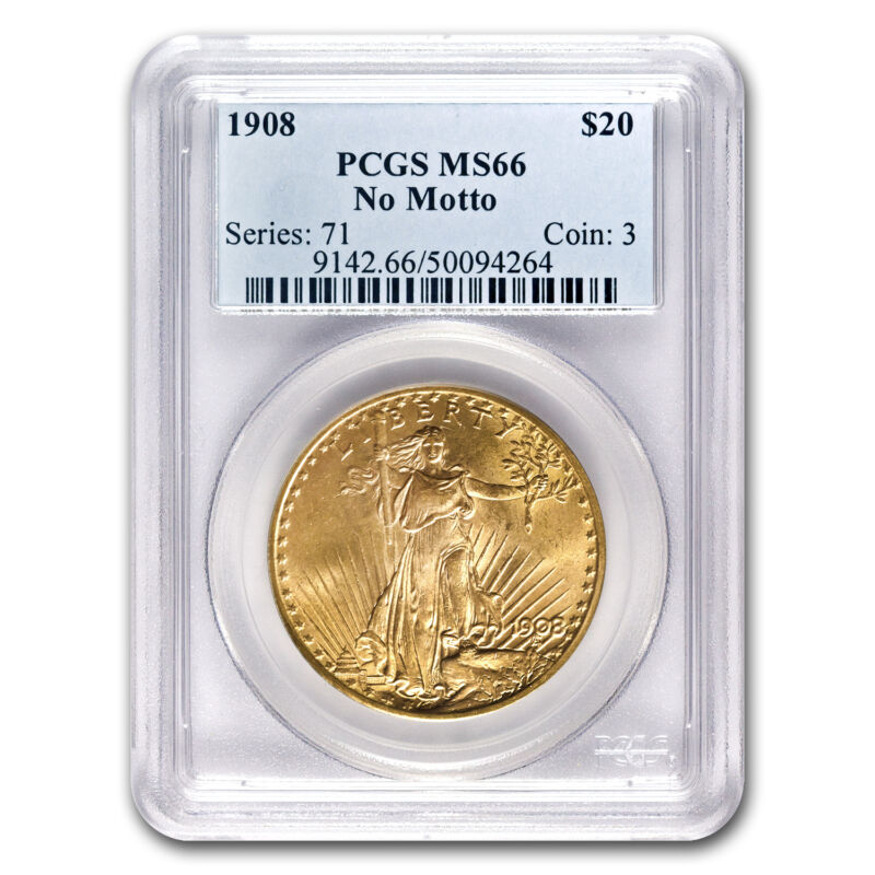 1908 $20 Saint-gaudens Gold Double Eagle No Motto Ms-66 Pcgs - Sku #18041
