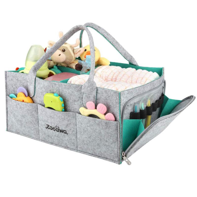 Zooawa Baby Diaper Caddy Organizer| Nursery Diaper Tote Bag | Baby Shower Basket