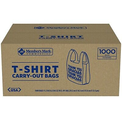 Members Mark T-shirt Carry-out Bags 1000 Ct Grocery Stores Convenience Stores