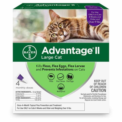 Advantage II for Large Cats Over 9 Lbs 4 Pack Genuine EPA Approved FREE Shipping