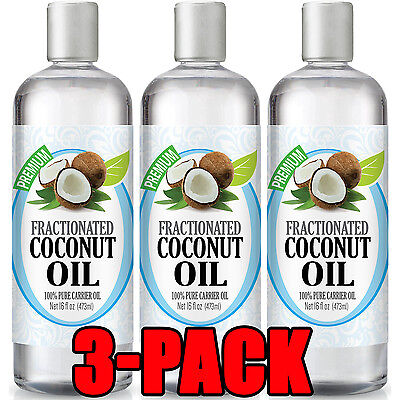 Fractionated Coconut Oil - 100% Perfect Carrier Therapeutic Grade Oil 16oz (3 Pack)